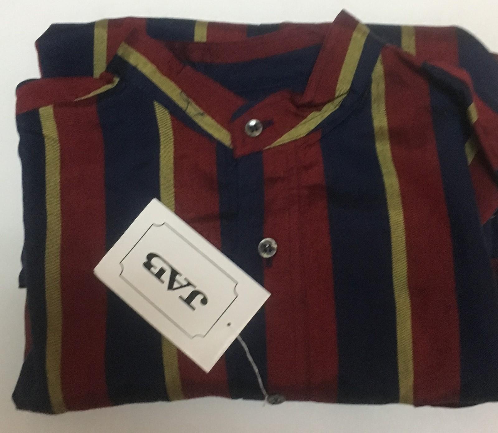 Men's 100% Silk Long Sleeved Shirt Red,Green & Blue Striped XL, L
