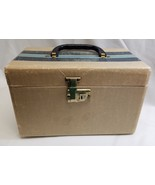 Vintage Train Vanity Make Up Case Tweed Blue Striped Wooden Luggage - $37.36