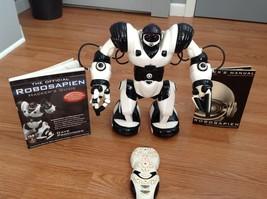 "Robosapien Robot 14"" Black White w/Remote Works BONUS Hackers Guide to R... - $48.95"