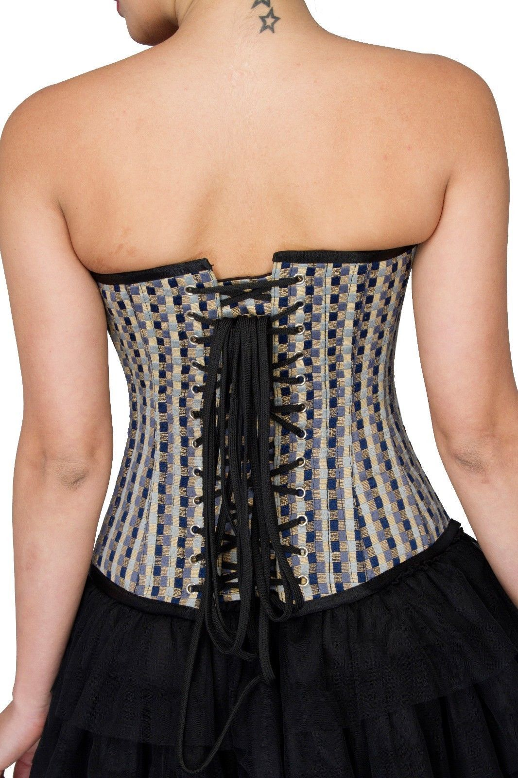 Black White Check Polyester Halloween Costume Gothic Bustier Overbust Corset Top