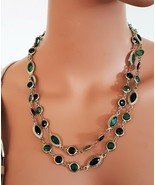 """VINTAGE """"TWO SISTERS"""" Long Green and Black Crystal Necklace  - $13.00"""