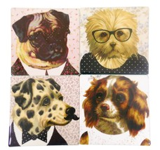 4 PIECE PUPS DOGS IN DRESSES CERAMIC HEAVYWEIGHT COASTERS CHRISTMAS PRESENT - $9.53