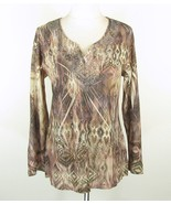 CHICO'S Size 2,  L 12 14 Lightweight Knit Lace Trim Tunic Top - $18.99