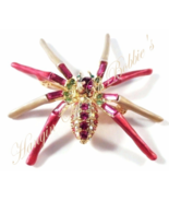 Spider Pin Brooch Pink Aqua Crystal Gold Tone Metal Autumn Fall Halloween - $19.99
