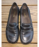 Clarks Size 7.5 Loafers Comfort Shoes Slip On Black Leather Women's Care... - $8.07