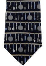 Vicky Davis Cooking Utensils Men's Necktie Cook Restaurant Silk Blue Nec... - $19.75
