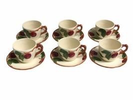 Set of 6 Vintage Franciscan Apple Pattern Cup & Saucer Sets Made In USA ... - $28.04
