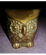 Solid Brass Big Eye Owl Figurine Paperweight Vintage Antique Collectible - $12.00