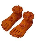 GODDESS LAKSHMI CHARAN PADUKAN with OHM SWASTIK Symbol for wealth & good... - $15.84