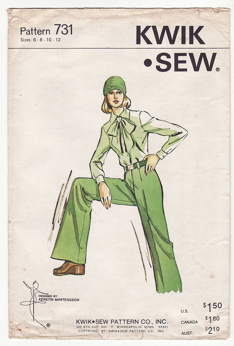 Vintage Misses Kwik Sew Straight Leg Fitted Pants Trousers Sew Pattern 6-12
