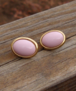 Vintage Trifari Soft Pink Oval Lucite Cabochon Post Earrings - $25.00