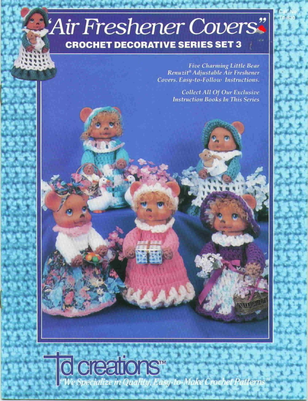 Td creations air freshener cover set 3 crochet