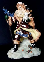 Christmas Santa Claus Walking Against the Wind carrying puppy Large Figu... - $15.84