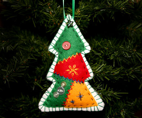 Country Handcrafted Patchwork Christmas Tree Ornament