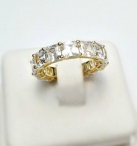 ZirconZ-Yellow Sterling Silver Assher Signity CZ Anniversary Eternity Ba... - $69.99