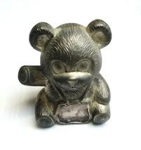 "Elegance Silver Plated Zinc Metal Teddy Bear Coin Bank Piggy Bank 4.25"" ... - $13.97"
