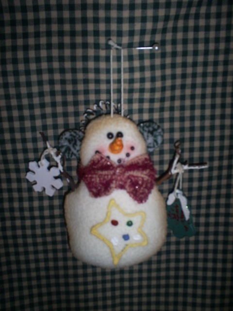 Snowman Ornament in antiqued flannel, New