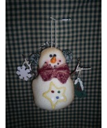 Snowman Ornament in antiqued flannel, New - $5.00