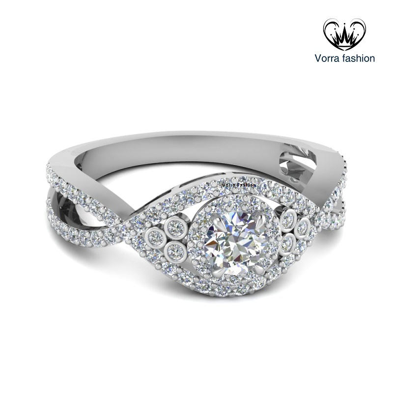 Primary image for Pure 925 Silver 14k White Gold Plated Round Cut Diamond Infinity Engagement Ring