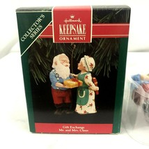 Hallmark Keepsake Ornament Gift Exchange Mr and Mrs Claus 1992 7th in se... - $12.38