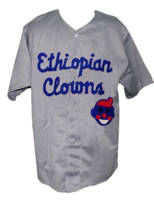 Ethiopian clowns negro league retro baseball jersey 1935 button down grey   1