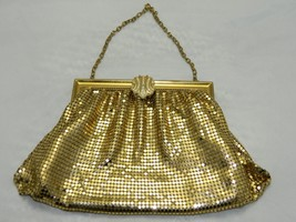 Vintage WHITING & DAVIS Gold Metal Mesh Rhinestone Evening Bag Purse Clutch - $35.64