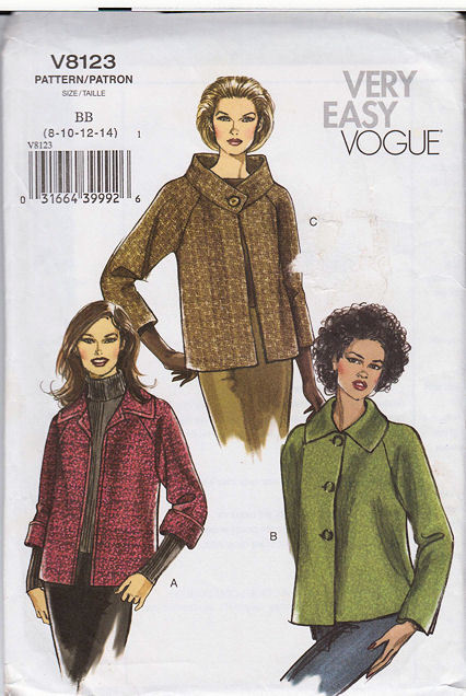 8123 Very Easy Vogue Misses Jacket Size 8-14 Pattern  NEW