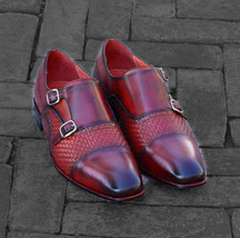 Handmade Men's Maroon Two Tone Double Monk Strap Dress/Formal Leather Shoes image 1