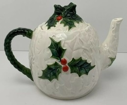 Vintage Lefton Teapot 6063 White Holly Leaves Berries Ceramic 1970-71 Ho... - $35.59