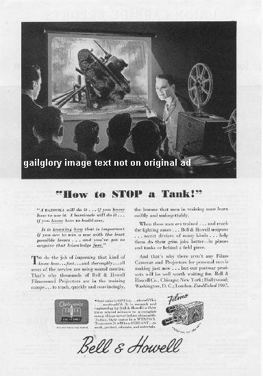 1944 Bell & Howell Camera 2 Vintage Wartime Print Ads