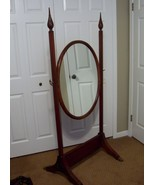 Antique Cheval Oval Mirror on Floor Stand Mahogany Brass Claw Feet Wing ... - $349.99