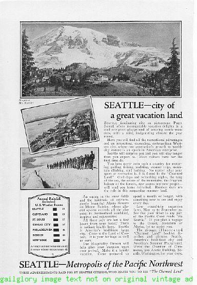 1924 Seattle Vacation 2 Vintage Magazine Print Ads