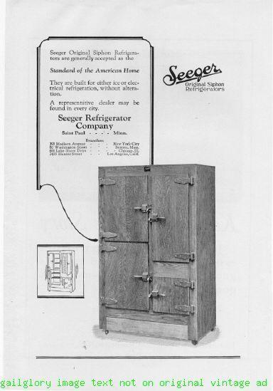 1924 Seeger Siphon Refrigerators 2 Vintage Print Ads