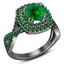 Green Sapphire Black Rhodium Finish 925 Silver Infinity Style Engagement... - £69.31 GBP