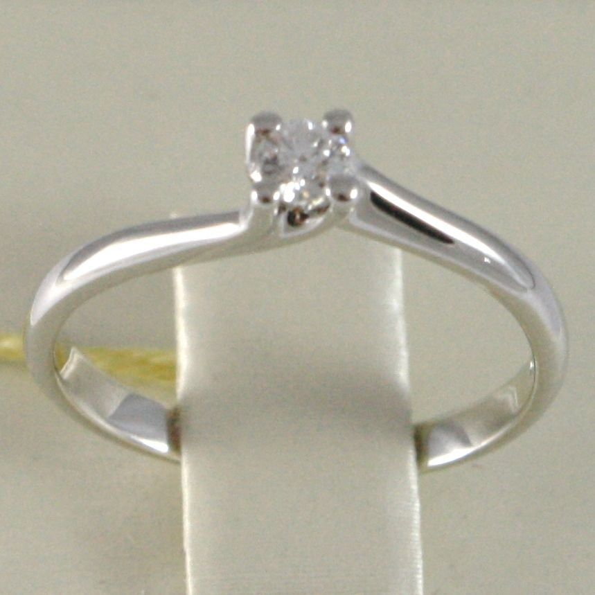 ANELLO ORO BIANCO 750 18K, SOLITARIO, STONDATO INCROCIATO, DIAMANTE, CT 0.12