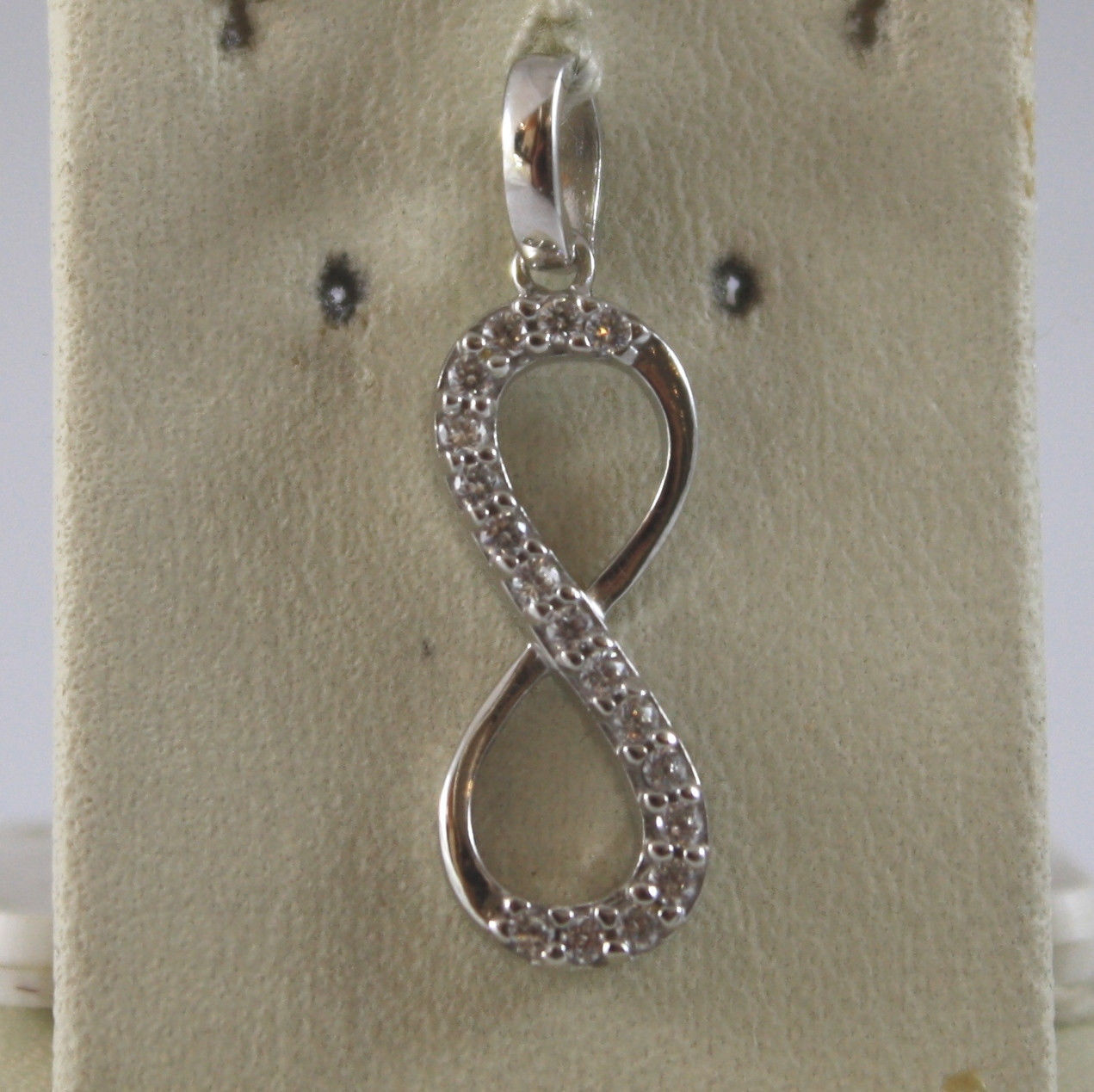 SOLID 18K WHITE GOLD PENDANT, 0,87 In, WITH INFINITY SYMBOL AND ZIRCONIA