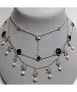 3 Piece Lot BOHO Sterling Silver Pendant Necklace CZ Cubic Zirconia Blac... - $36.58