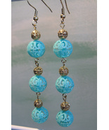 Extra Long Aqua Filigree Handcrafted Dangle Earrings - $9.95