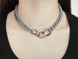 Swarovski NIB Palladium Plated Bound Necklace With Rose Gold PlatedAnd C... - $88.11