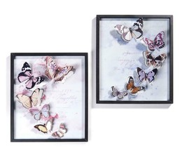 "18."" Square Framed Butterfly Metal Wall Decor Piece Features 6 in 3D Effect"