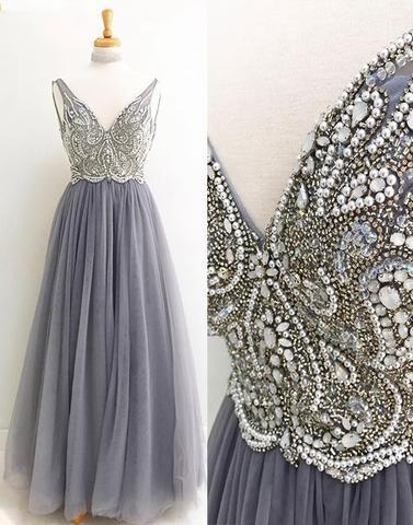 Gray v neck tulle beading long prom dresses,formal dresses,PD0906
