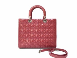 Authentic Christian Dior Lady Dior Large Red Patent Shoulder Tote Bag GHW image 2