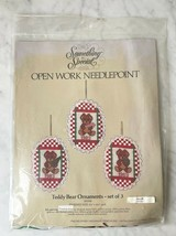 Vintage Something Special Teddy Bear Ornaments Open Work Needlepoint Kit... - $23.70