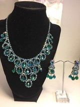 Vintage Rhinestone Necklace Earring Set Aurora Borealis Cha Cha Bead Sil... - $96.60
