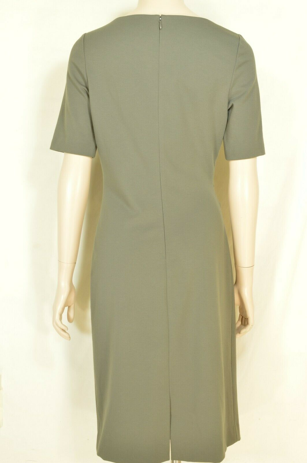 Lafayette 148 New York dress SZ 6 green gray short sleeves ruched on side