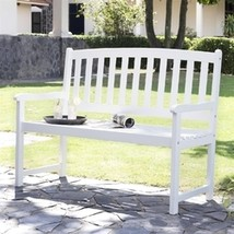 5-Ft Wood Garden Bench with Curved Slat Back and Armrests in White - $280.00
