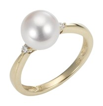 PEARL Dreams Ladies 'Ring 375Yellow Gold Rhodium Plated PD61 P 1/2 - $275.84