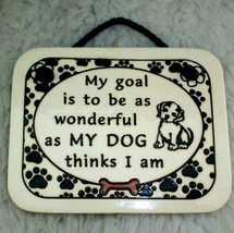 Dog Wall Plaque Handcrafted Pottery Stoneware Art Dog Lover Home Decor U... - $14.84