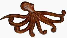 LARGE HAND CARVED SCULPTURE WOOD OCTOPUS WALL ART, TROPICAL NAUTICAL DECOR - $39.54