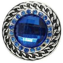 Silver Blue Rhinestone Faceted Crystal 20mm Snap Charm Jewelry For Ginge... - $6.19